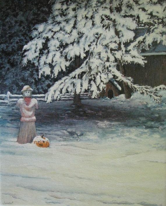 """Art Original Gouache Painting Scarecrow Snow Winter Garden Landscape By Audet """" Imperturbable, Drouin Rd, Compton, Quebec Canada """" 16"""" x 20"""""""