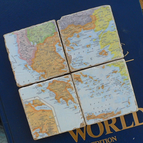 Greece Map Coasters, or Choose your Special Place in the Heart