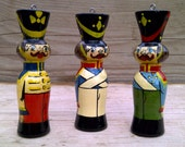 Set of 6 hand painted, vintage, wooden soldiers