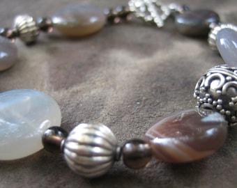 Razelle Bracelet - Botswana Agate, Bali Silver