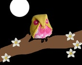Sweet pink flower owl