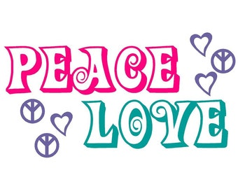 Wall Decal Peace Signs and Love Hearts Vinyl Sticker Word Art Lettering Bluestreak Decals