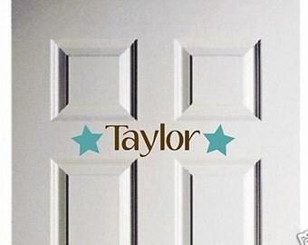 Wall Decal Star Door Vinyl Sticker Personalized Name Word Art Lettering Bluestreak Decals