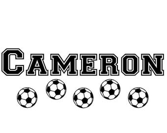 Wall Decal Soccer Personalized Name Children Sports Balls Vinyl Sticker Word Art Lettering