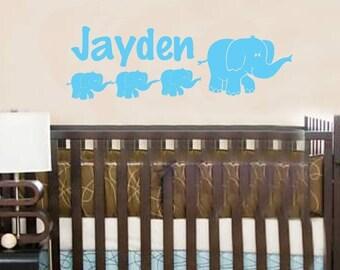 Wall Decal Elephant Personalized Baby Name Custom Vinyl Sticker Word Art Lettering Bluestreak Decals