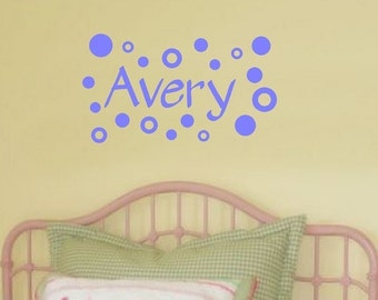Wall Decals Personalized Name Polka Dots Custom Vinyl Sticker Word Art Lettering Bluestreak Decals