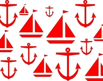Wall Decal Nautical Boats and Anchors Assorted Sizes Vinyl Sticker Art Bluestreak Decals