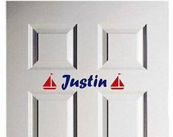 Wall Door Decal Personalized Name Nautical Sailboat Vinyl Sticker Art Lettering Bluestreak Decals
