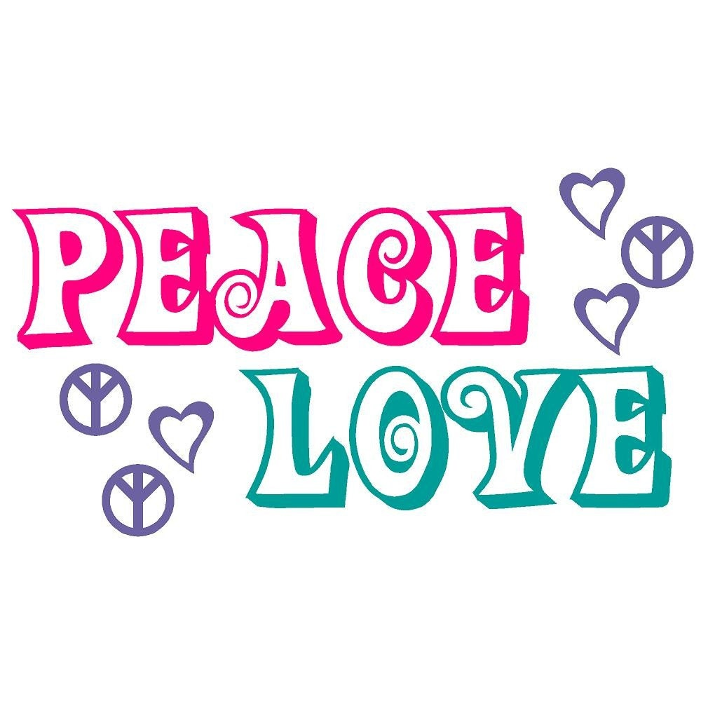 Wall Decal Peace Signs and Love Hearts Vinyl Sticker Word Art