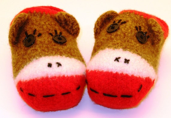 Knit Pattern Sock Monkey Slippers PDF File