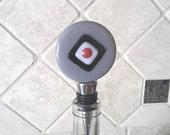Wine Bottle Stopper, Gray Black White & Red Bottle Topper, Fused Glass Large Wine Saver
