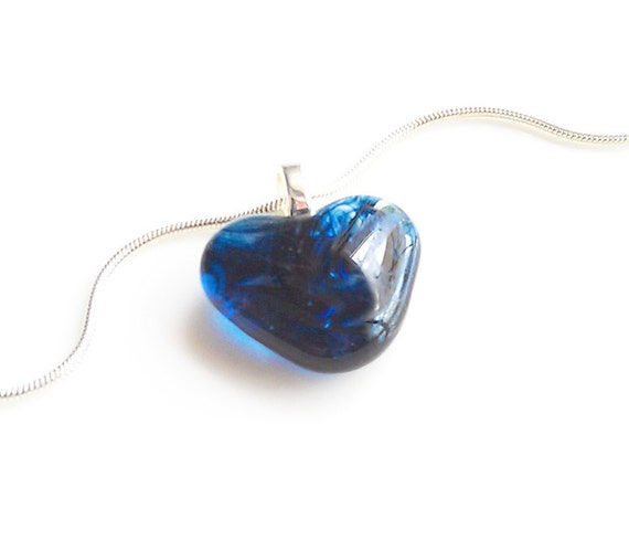 Dark Blue Heart-Shaped Pendant Necklace - Fused Glass