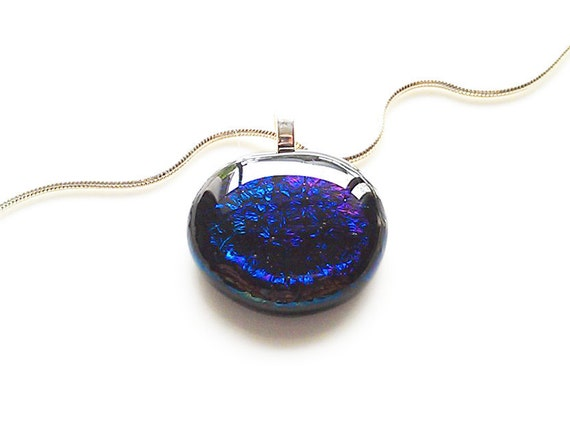 Royal Blue & Purple Sparkling Pendant Necklace