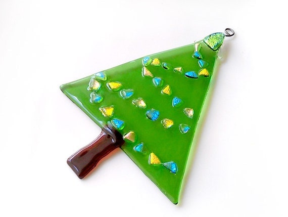 Christmas Tree Suncatcher - Large Fused Glass Ornament  Reserved