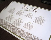Damask Monogram Seating Chart - PRINT - Reserved for poo4kie