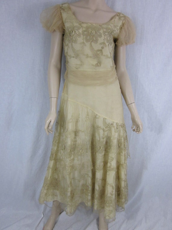 RESERVED FOR SY Edwardian Ivory and Lace Evening Gown