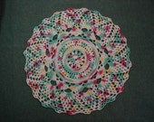 Pastel Doily-10 inch Doily-Variegated Pineapple Doily-Pink,Green,Yellow,White Doily-Hand Crocheted Cotton Doily-Cindy's Loft