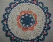 White Doily-11 inch Doily-Blue Doily-Peach Doily-Pastel Doily-Hand Crocheted Cotton Doily-Cindy's Loft