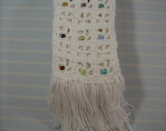 White Scarf-4 yards X 3.5 inch Scarf-Beaded Scarf- Soft Hand Crocheted Scarf-Fringed Scarf-Cindy's Loft