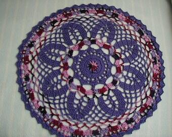 Purple Doily-10 1/2 inch Doily-Varigated Doily-Dark Lavender Doily-Hand Crocheted Cotton Doily-Cindy's Loft