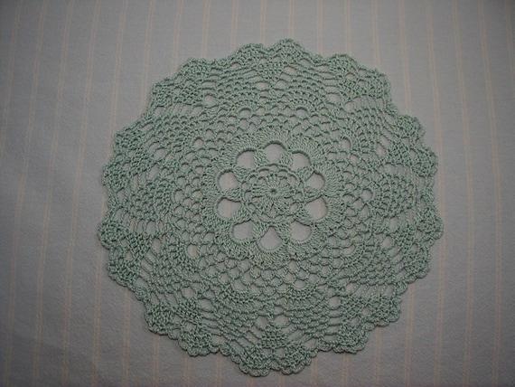 Aqua Doily-9 inch Doily-Pineapple Doily-Blue-green Doily- Small Doily-Hand Crocheted-Cindy's Loft