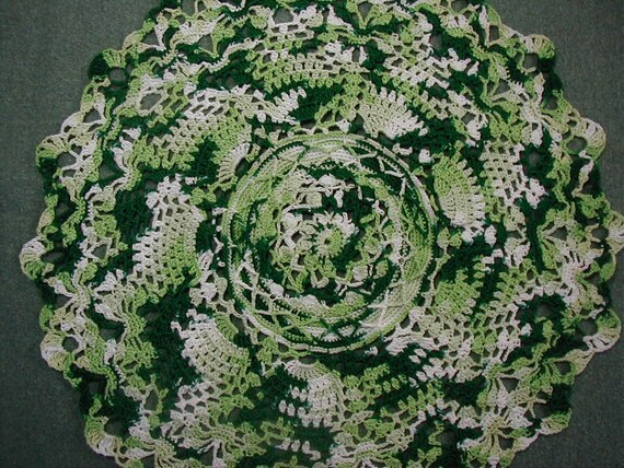 Christmas Greens Doily-11 1/2 inches-Pineapple-Varigated Green/White-Hand Crocheted-Size 20 Cotton Thread-Cindy's Loft