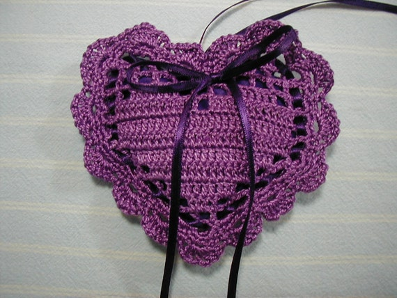 Purple Sachet-Heart Sachet-Hand Crocheted Sachet-Fragrant-Cotton and Satin-Cindy's Loft