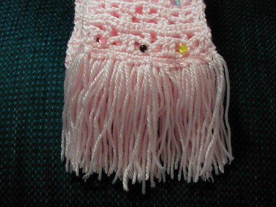 Pink Scarf-120 inch Length-3.5 inch Width-Washable Multi Color Beaded Scarf-Hand Crocheted Fringed Scarf-Light Pink Scarf-Cindy's Loft