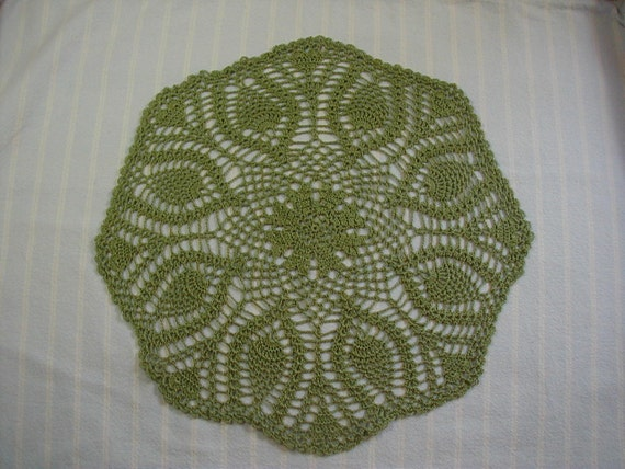 Sage Green Doily-11.5 inch Doily-Pineapple Doily-Hand Crocheted-Cotton Thread Doily-Cindy's Loft