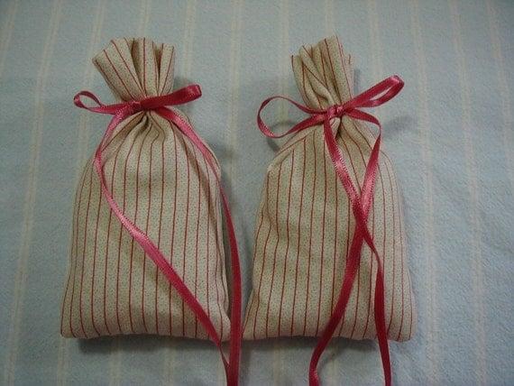 Mauve Sachet-'Sea Breeze' Scent-Pink Sachet-Ivory Sachet-Stripe Print-Cotton Fabric Sachet-Dark Mauve Ribbon-Cindy's Loft