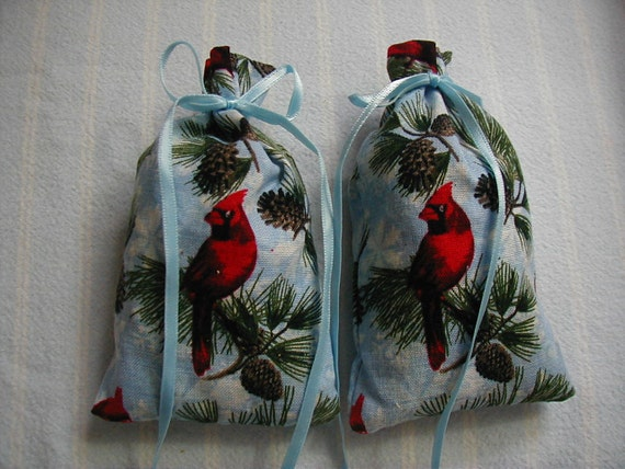 Blue Sachets-'Cinnamon Spice' Fragrance-Red Cardinal Sachets-Cotton 'Winter Pinecone' Print Sachet-Blue Ribbon-Cindy's Loft