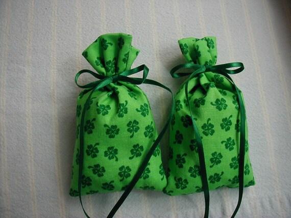 St. Patrick's Day Sachet-'Lavender Rose' Fragrance-Green-Cotton 'Shamrock' Print Sachet-Green Ribbon-Cindy's Loft