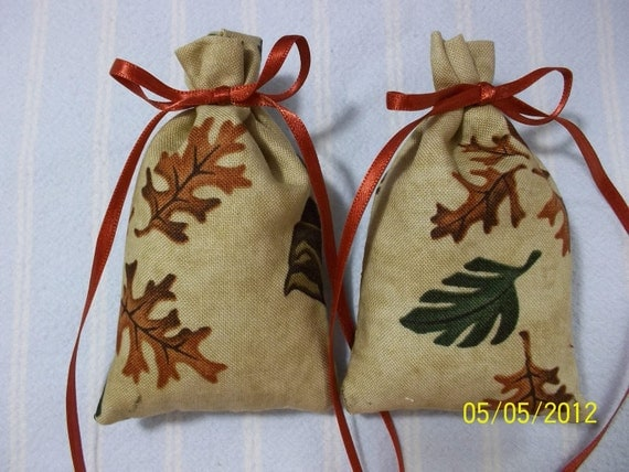 Tan Sachet-'Country Breeze' Fragrance-Bronze and Green Leaf/Bear Print-Cotton Fabric Sachet-Bronze Ribbon-Cindy's Loft
