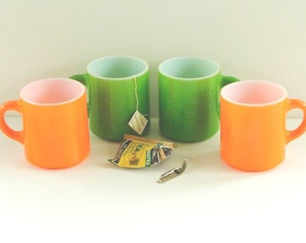 4 Vintage Mugs. Bright Green and Orange Citrus Colors with Textured Exteriors.