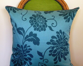 Teal Floral Pillow Cover