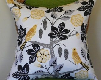 Bright Birds on Branches Pillow Cover