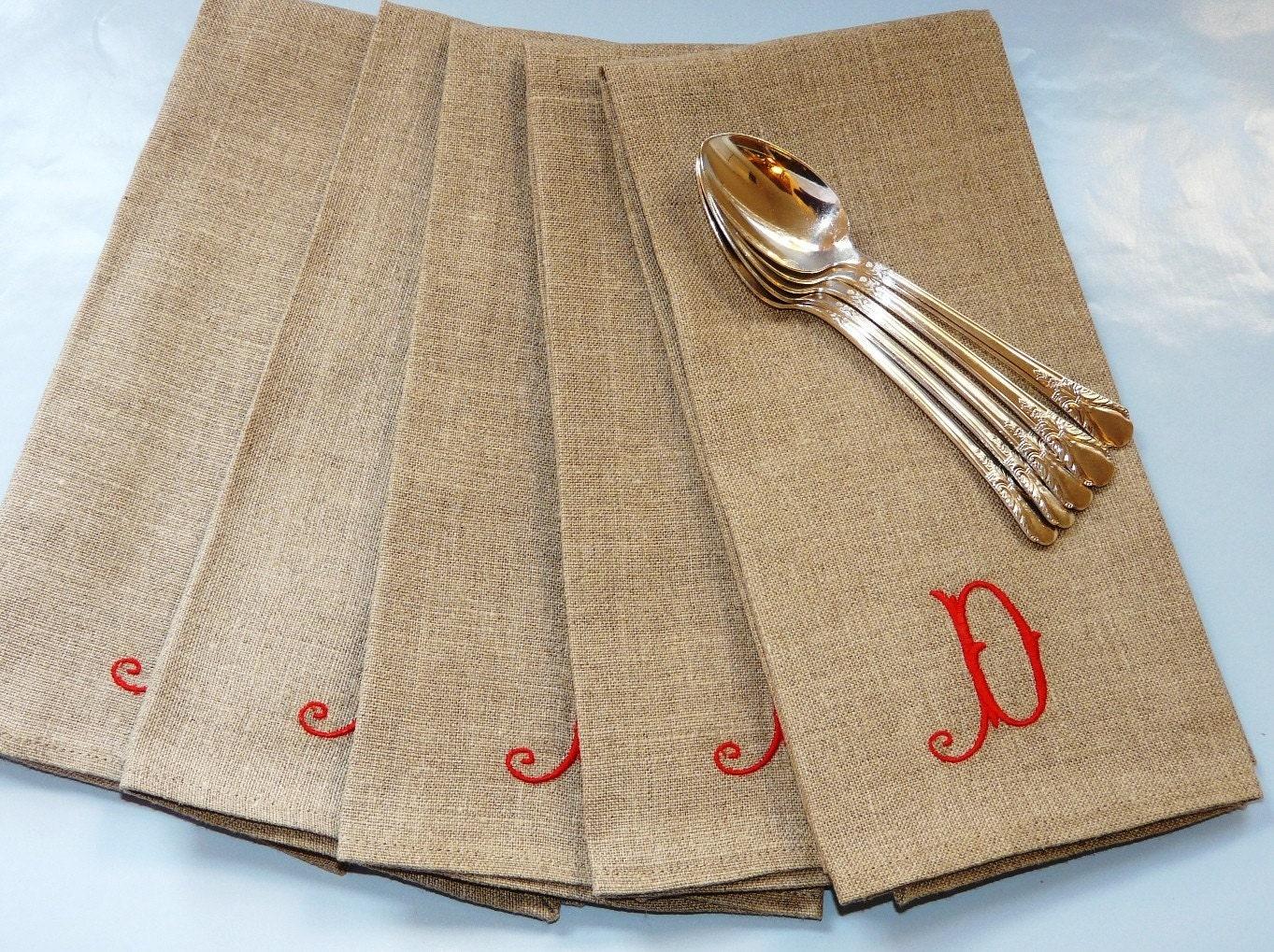 handmade monogrammed linen napkins