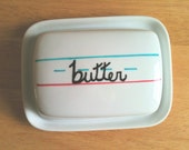 Hand painted old school writing vintage style double butter dish