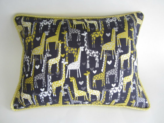 Yellow and Gray Giraffe Pillow Cover