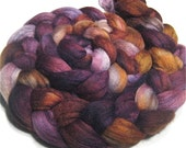 Polwarth/tussah silk roving 4.3 oz Magical Forest