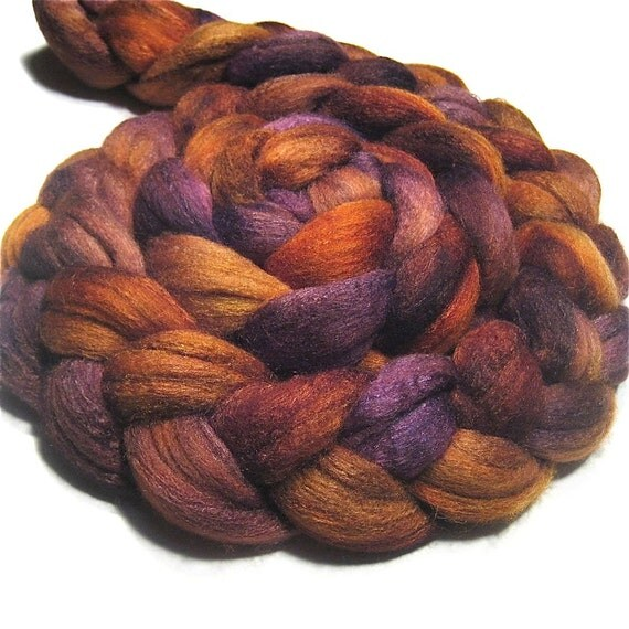 Merino & tussah silk roving 4.1 oz Autumn Sunset