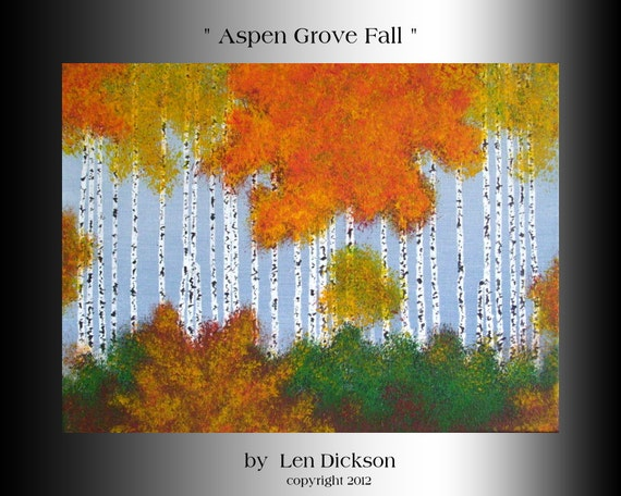 Original Acrylic Abstract Forest Landscape Painting - 12 x 16....Aspen Grove Fall