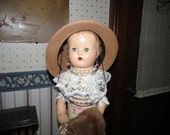 "Assemblage Art Doll ""All Dolled Up""  with Vintage Perfection Heater Pot, Mink Coat, Vintage Hat"