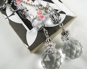 Chain Pull Pair with Leaded Crystal Drop in Deco or Modern Style