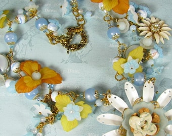 """Necklace """"Forget-Me-Not Blue""""  Vintage Lucite Assemblage Necklace SALE PRICED reduced 40%"""