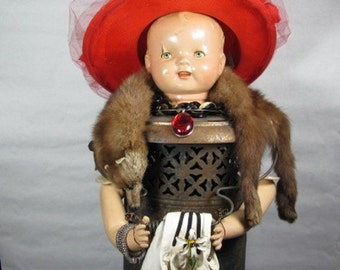 """Assemblage Art Doll """"Off to the Opera""""  with Vintage Perfection Heater, Mink Coat, Vintage Hat"""