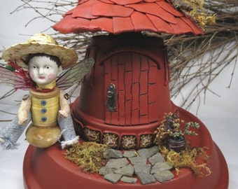 """Fairy """"Woodland Home""""  Assemblage Art Fairy Home in the Woods"""