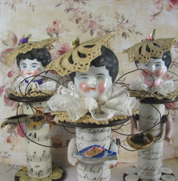 """Fairy """"One Day When We Went Walking Ivory""""  Assemblage Art Doll SALE PRICED reduced 40%"""