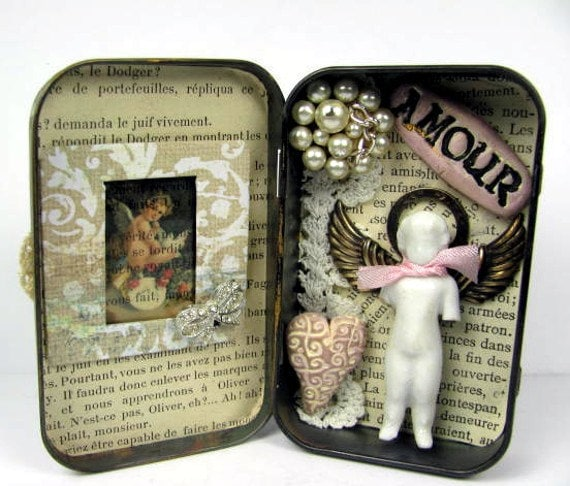 "Altered Altoid Tin Assemblage Collage ""Amour"" with Antique Frozen Charlotte"