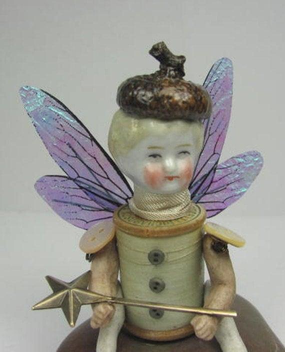 "Fairy ""Imagine""  Assemblage Art Doll"